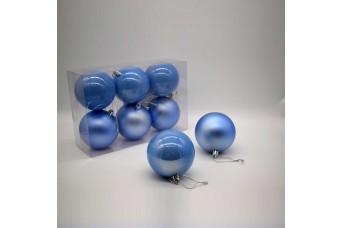 6τεμ Χριστουγεννιάτικες Μπάλες 8cm Misty Blue CD21-0806-24