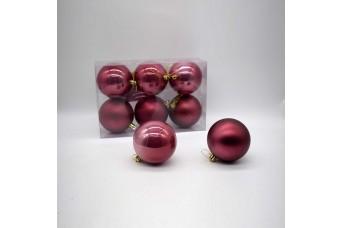 6τεμ Χριστουγεννιάτικες Μπάλες 8cm Velvet Pink CD21-0806-32