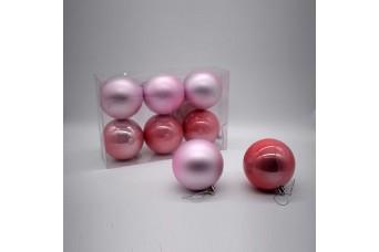 6τεμ Χριστουγεννιάτικες Μπάλες 8cm Blush Pink CD21-0806-37