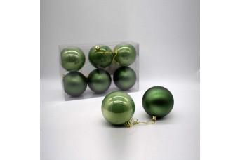 6τεμ Χριστουγεννιάτικες Μπάλες 8cm Pine Green CD21-0806-40