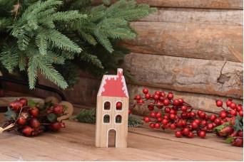 Χριστουγεννιάτικο Σπιτάκι Τετράγωνη Σκεπή με Καπνοδόχο 17cm CD2325-17