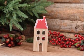 Χριστουγεννιάτικο Σπιτάκι Τετράγωνη Σκεπή με Καπνοδόχο 22cm CD2325-22