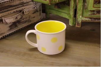 Κούπα Κεραμική Πουά Κίτρινο