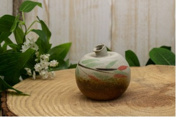 Κεραμικό Βαζάκι Στρογγυλό Φυλλαράκια 6cm CER-5016