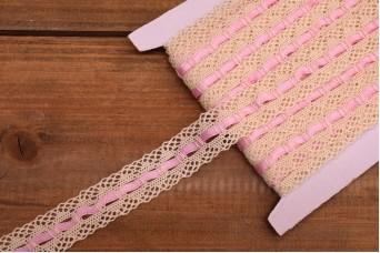 Δαντέλα Βαμβακερή Σατέν Κορδέλα Ροζ 10yd LC0403-1