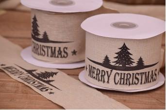 Κορδέλα Merry Christmas Έλατα Κρεμ 10yd RB0715-1