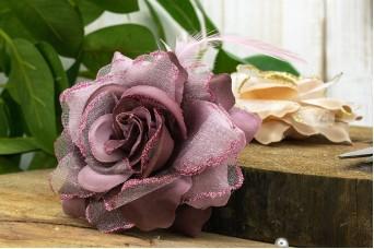Τριαντάφυλλο με Φτερά 10cm Σάπιο Μήλο Glitter FI-8217-1