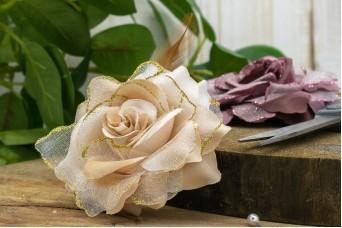 Τριαντάφυλλο με Φτερά 10cm Εκρού Glitter FI-8217-2