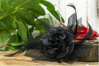 Τριαντάφυλλο με Φτερά 14cm Μαύρο FI-8221-1
