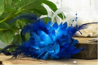 Τριαντάφυλλο με Φτερά Πέρλες 11cm Μπλε FI-8559-1