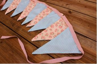Σημαιάκια Floral Ρομαντικό Ροζ/Πουά Μέντα FLG-91P25M