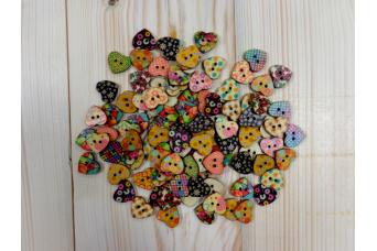 Κουμπιά 50τεμ Ξύλινα Καρδιές H361-50