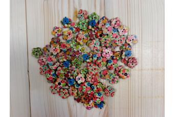 Κουμπιά Ξύλινα Λουλουδάκια H365-50
