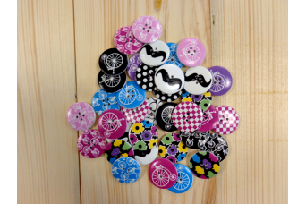 Κουμπιά 50τεμ Ξύλινα Design Mix H468