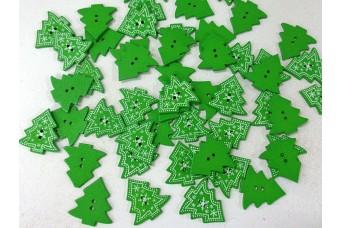 Ξύλινα Κουμπιά 50τεμ Χριστουγεννιάτικο Έλατο H521