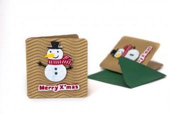 Χριστουγεννιάτικη Κάρτα Χιονάνθρωπος PI9631-7