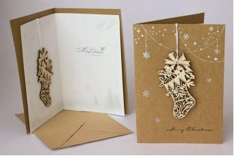 Χριστουγεννιάτικη Κάρτα Ξύλινη Μπότα PI9792BT
