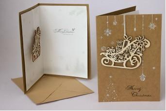 Χριστουγεννιάτικη Κάρτα Ξύλινο Έλκηθρο PI9792SL