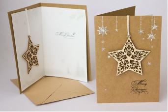 Χριστουγεννιάτικη Κάρτα Ξύλινο Αστέρι PI9792ST