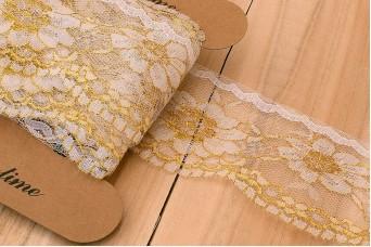 Δαντέλα με Διαφάνεια Χρυσά Λουλούδια LC8982