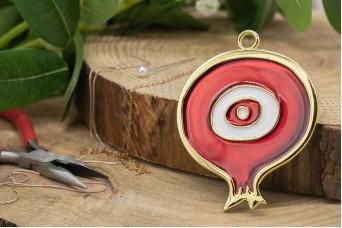 Μεταλλικό Ρόδι Μάτι Χρυσό Κόκκινο Σμάλτο 72x90mm 1τεμ MI-004