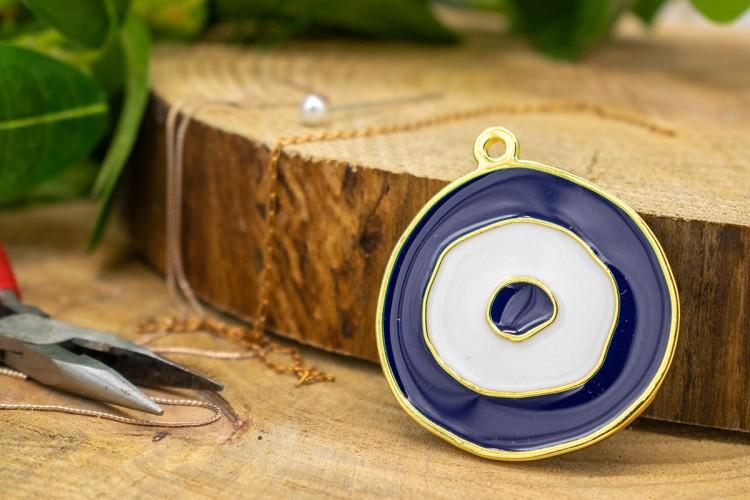 Μεταλλικό Μάτι Χρυσό Μπλε Σμάλτο 54x62mm 1τεμ MI-005