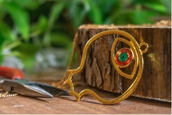 Μεταλλικό Ρόδι με Μάτι Χρυσό Σμάλτο MI-5326-3