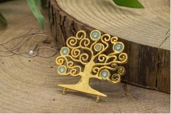Μεταλλικό Δέντρο Ζωής Χρυσό Σμάλτο Σιέλ MI-5338