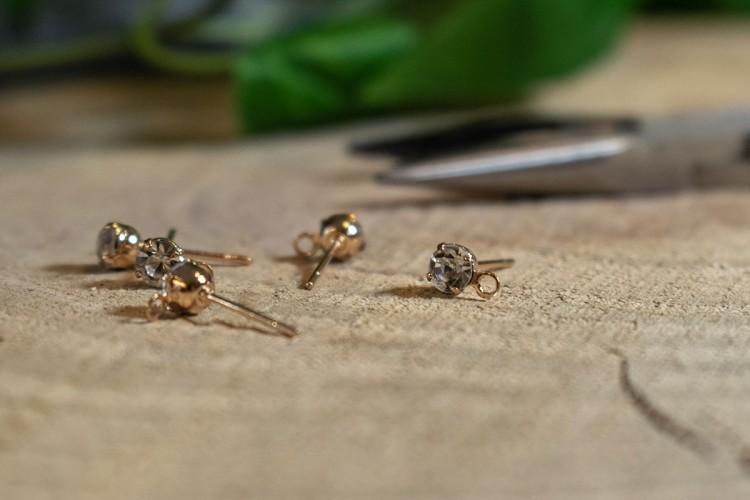 Κρυσταλλάκι Clear 4mm σε Χρυσό Pin 10τμχ MI-7849