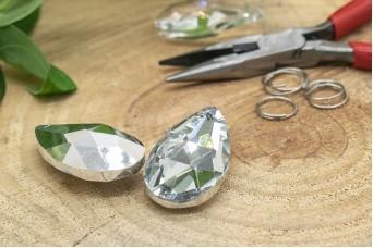 Κρύσταλλο Δάκρυ με Ασημένια Πλάτη 38mm MI-7898-3