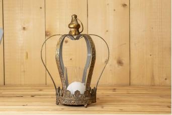 Κηροπήγιο Κορώνα Παλαιωμένο Χρυσό 32cm MI0441