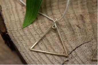 Μεταλλικό Στοιχείο Τρίγωνο με 2 Κρικάκια Χρυσό 28mm 10τεμ. MI1438-10620