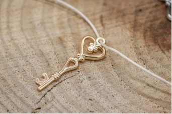 Μεταλλικό Κλειδί-Καρδιά Χρυσό 40mm 10τεμ. MI1587-40G