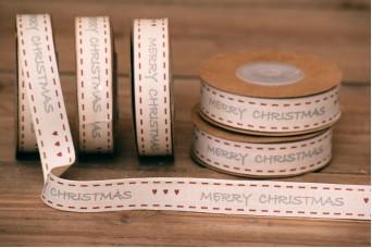 Κορδέλα Merry Christmas Γκρι-Κόκκινο Καρδούλες 10yd RB0703-1