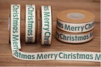Κορδέλα Merry Christmas Κρεμ 10yd RB0703-2
