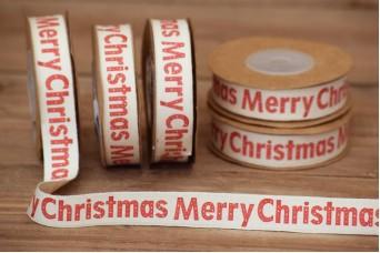 Κορδέλα Merry Christmas Κρεμ 10yd RB0703-3