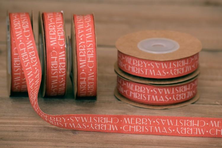 Κορδέλα Merry Christmas Κόκκινη 10yd RB0703-4