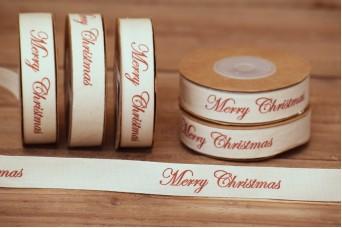 Κορδέλα Merry Christmas Καλλιγραφικό Κόκκινο 10yd RB0704-6
