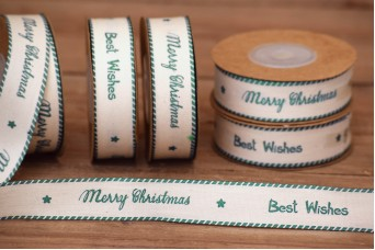 Κορδέλα Merry Christmas-Best Wishes Πετρόλ 10yd RB0708-4