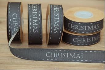 Κορδέλα Merry Christmas Μαύρη 20mm x 10yd RB0708-6
