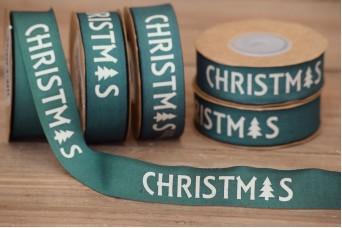 Κορδέλα Merry Christmas-Έλατο Πετρόλ-Κρεμ 10yd RB0708-7