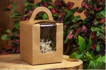 Χάρτινο Κουτί Craft με Διαφάνεια και Χερουλάκι 9x9x11cm PI-9613