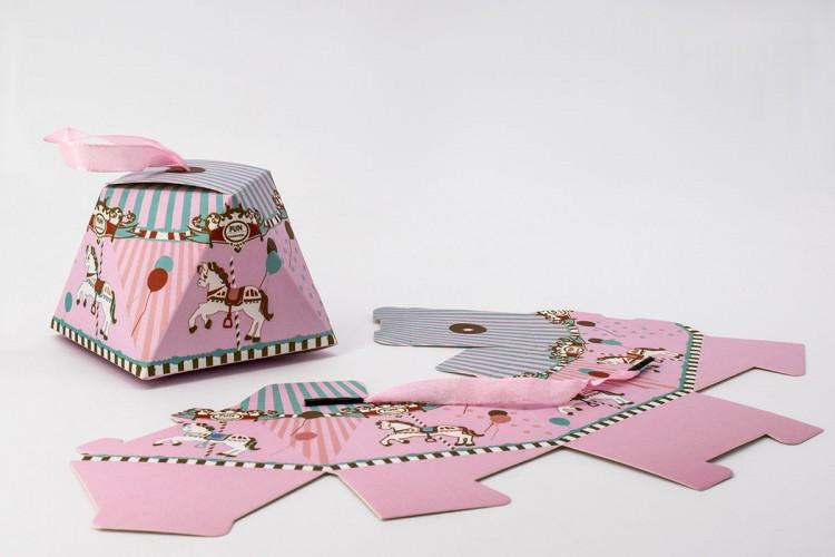 Κουτιά Χάρτινα 24τεμ Καρουζέλ Ροζ 8cm PI3036-1