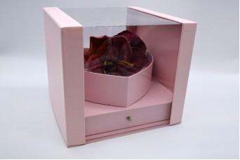 Flower Box Τετράγωνο Καρδιά με Συρτάρι PIF-W7352-PNK