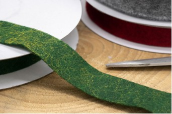 Κορδέλα Μάλλινη Τσόχα 25mm x 10y Πράσινη RB-3984-3