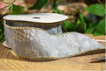 Κορδέλα Κουκουνάρια 40mm x 10y Γκρι Λευκό RB-8916