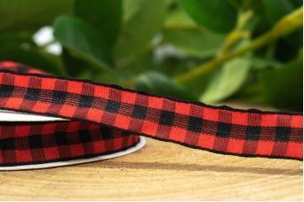 Κορδέλα Καρώ 12mm x 20y Κόκκινο Μαύρο RB-8942-2