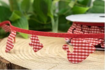 Γιρλάντα Κόκκινο Καρώ Μπότα Σκούφος Γάντι 35mm x 10y RB-8869-1