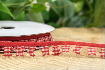 Γιρλάντα Κόκκινο Καρώ Μπότα Έλατο Αστέρι 15mm x 10y RB-8886