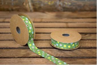 Κορδέλα Υφασμάτινη Πουά Παιδικό Πράσινο RB9994-1.5-1